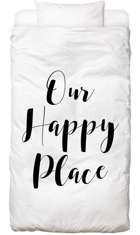 Citations et slogans, Crémaillères, Noir & blanc, Our Happy Place Linge de lit