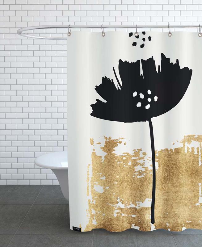 Poppies, Black Poppy Shower Curtain