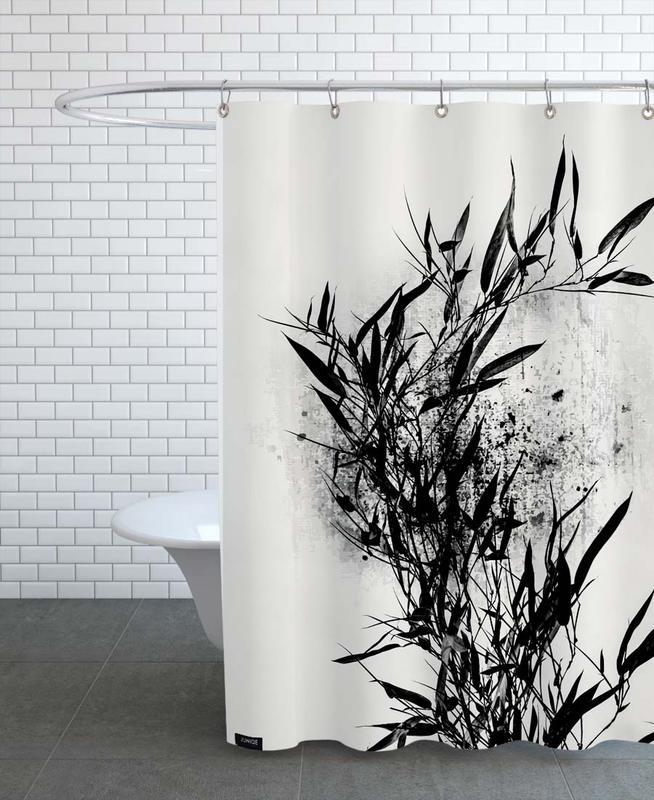 Black & White, Leaves & Plants, Geometrica No. 9 Shower Curtain
