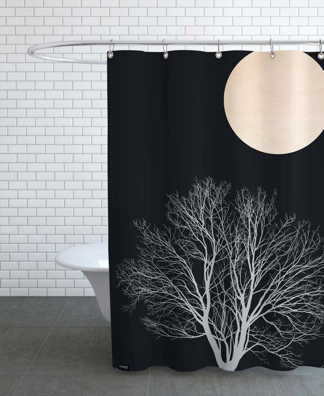 Trees, Black & White, Midnight Lovers Shower Curtain