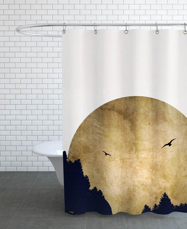 Abstract Landscapes, Two Birds Gold Shower Curtain