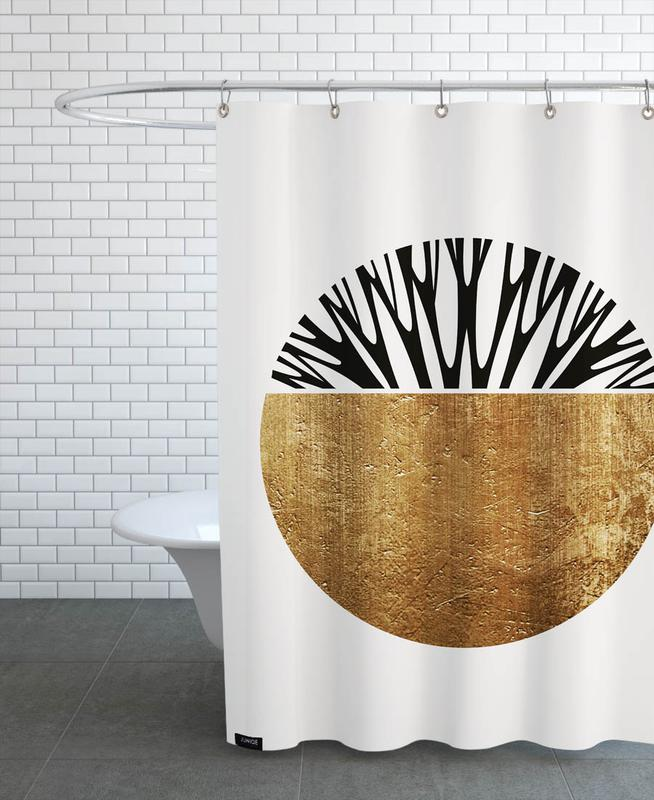 , Abstractika Gold Shower Curtain