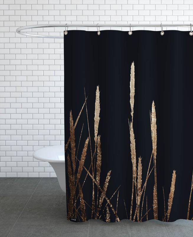 Leaves & Plants, Golden Fields In The Dark Shower Curtain