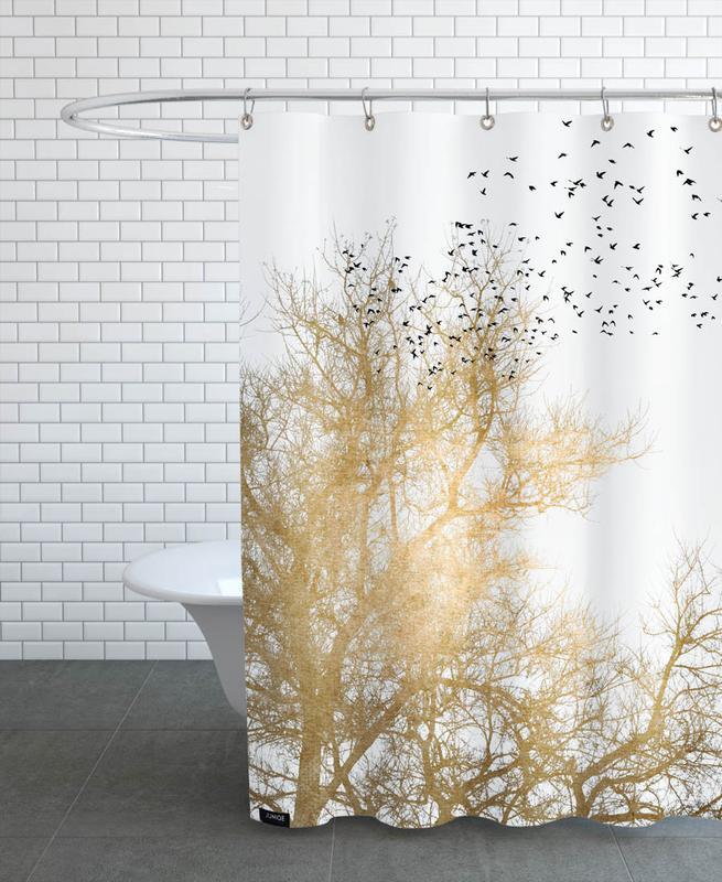Bäume, Golden Skies -Duschvorhang