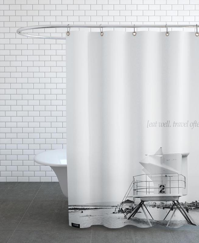 Beaches, Black & White, Motivational, Eat Well Travel Often Shower Curtain