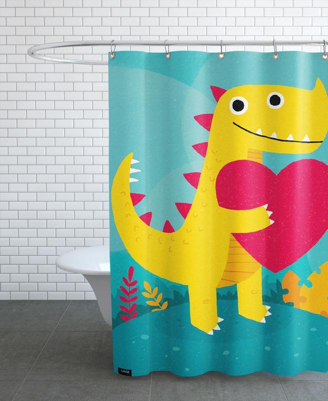 Geburtstage, Kinderzimmer & Kunst für Kinder, Dino Love -Duschvorhang
