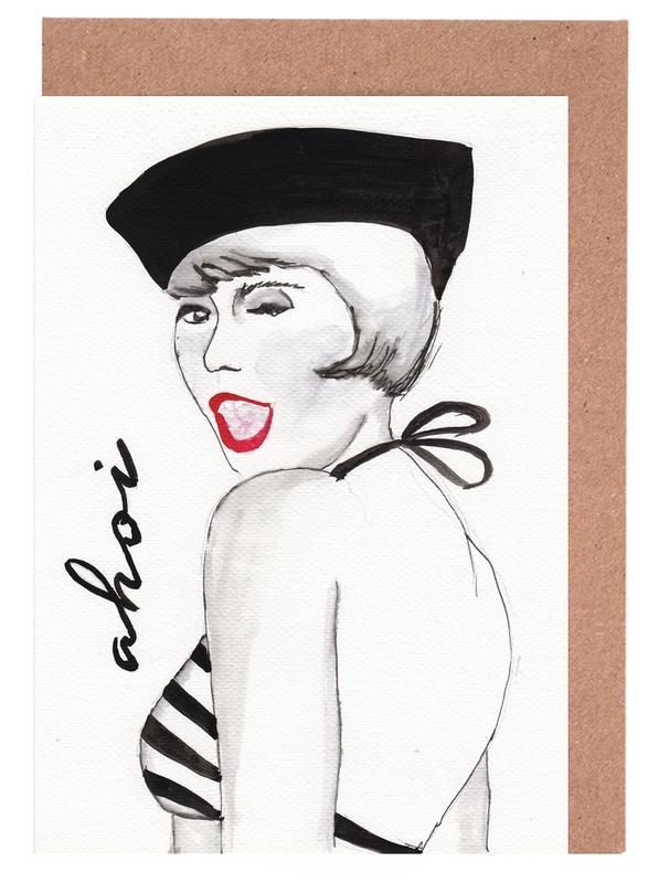 Black & White, Fashion Illustrations, Ahoi Greeting Card Set