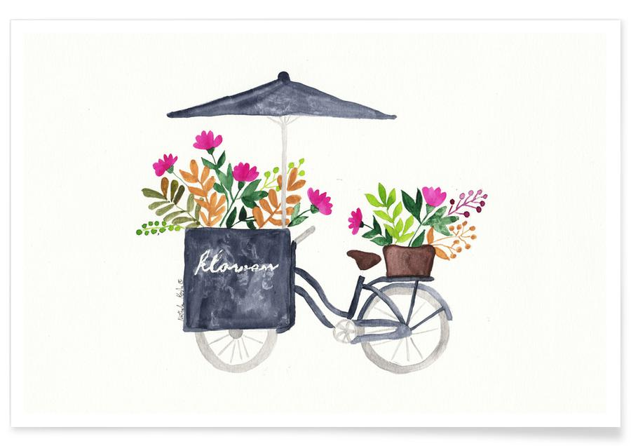 Bicycles, Flowers Bike Poster