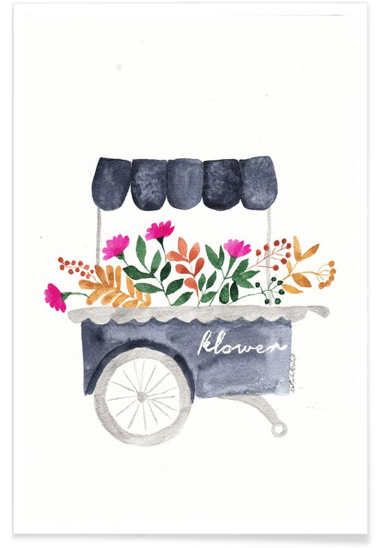 Bicycles, Flowers Market Poster