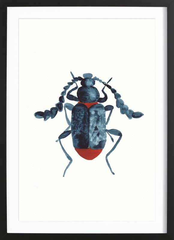 Blue Beetle -Bild mit Holzrahmen