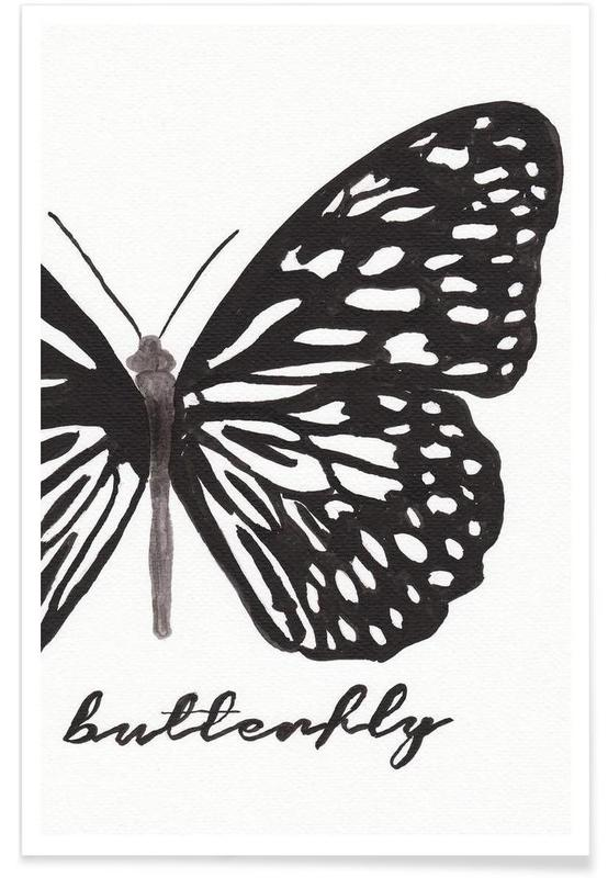 Noir & blanc, Papillons, My butterfly affiche