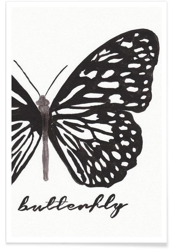 Zwart en wit, Vlinders, My butterfly poster