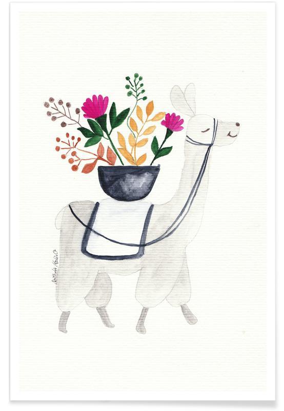 Børneværelse & kunst for børn, Lama, Blumenlama Plakat