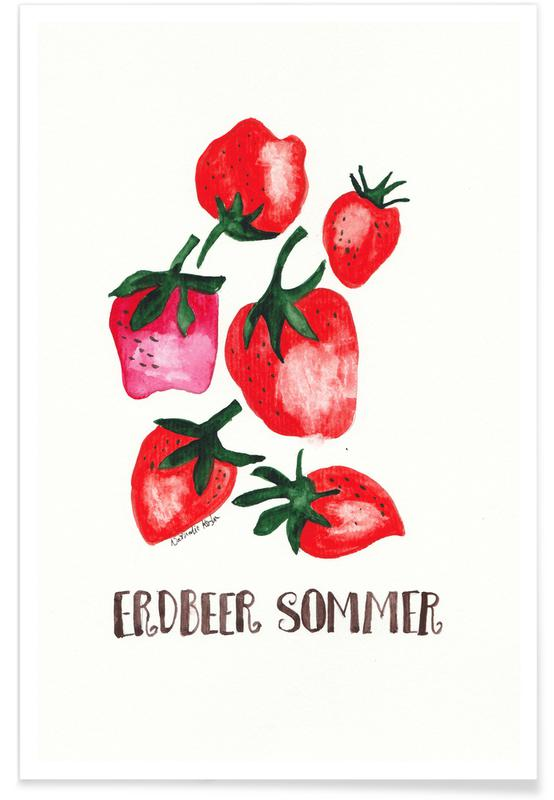 Jordbær, Erdbeer Sommer Plakat