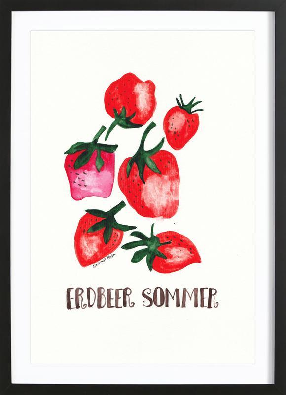 Erdbeer Sommer -Bild mit Holzrahmen