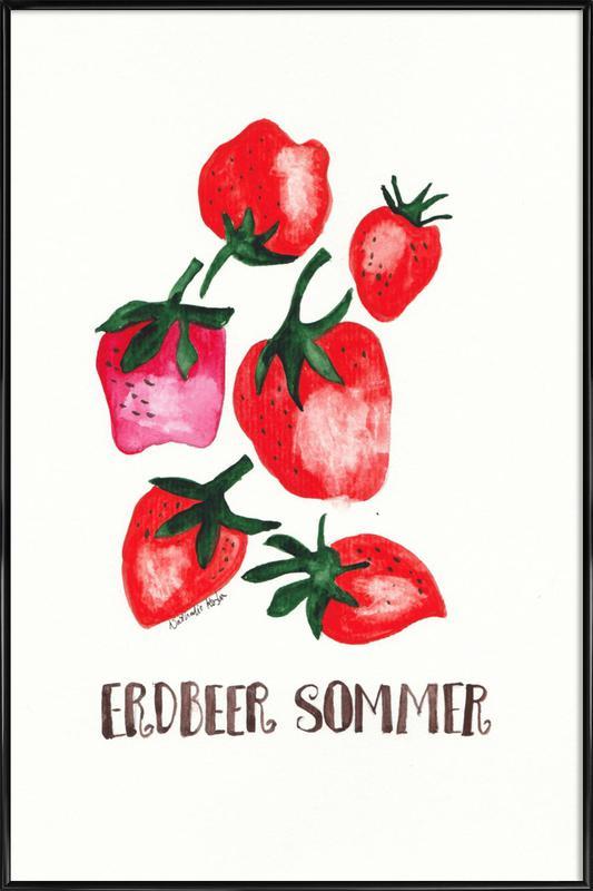 Erdbeer Sommer -Bild mit Kunststoffrahmen