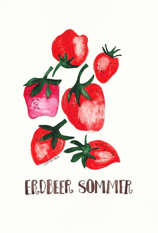 Erdbeer Sommer -Alubild