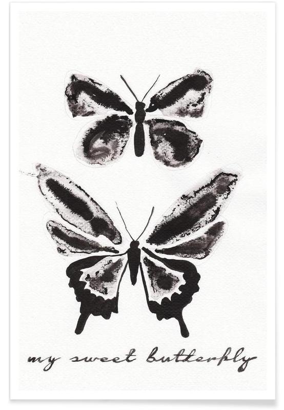 Noir & blanc, Papillons, My sweet butterfly affiche