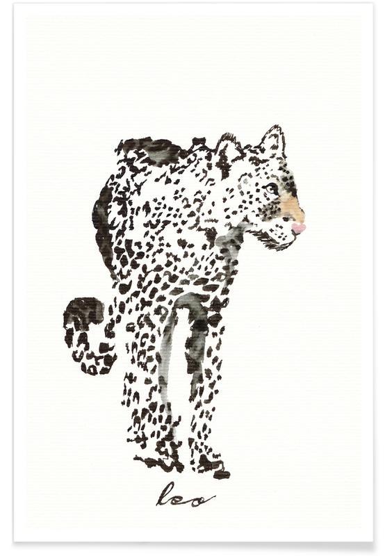 Leoparden, Kinderzimmer & Kunst für Kinder, Leo -Poster