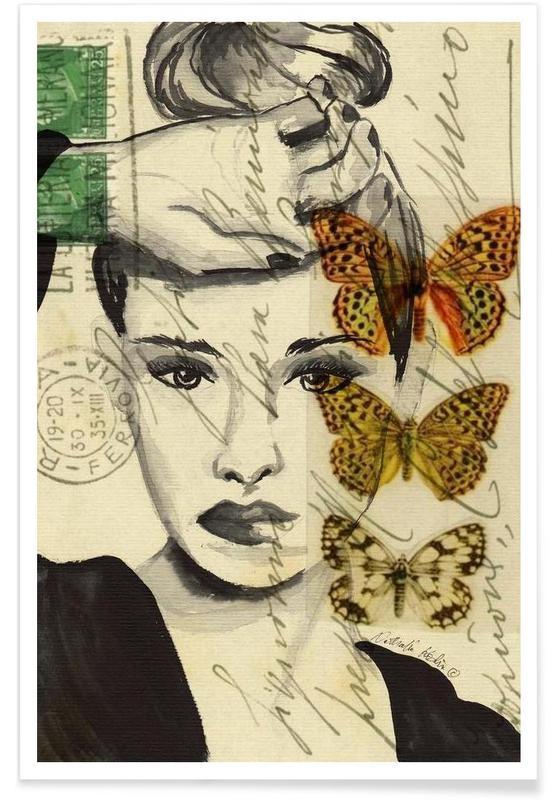 Papillons, Portraits, Thinking affiche