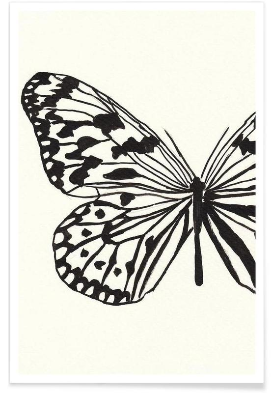 Noir & blanc, Papillons, White butterfly affiche