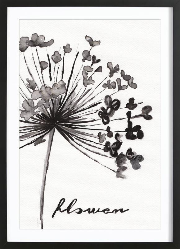 Flower affiche sous cadre en bois