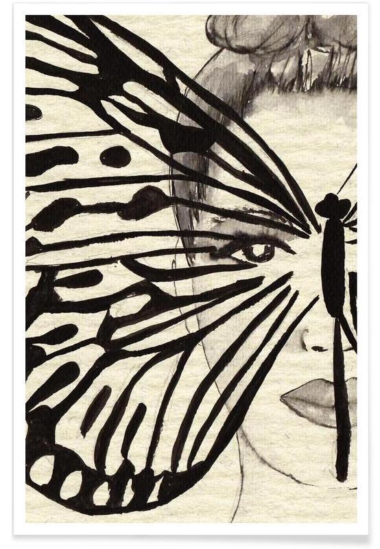Papillons, Noir & blanc, Portraits, Mystic Butterfly affiche