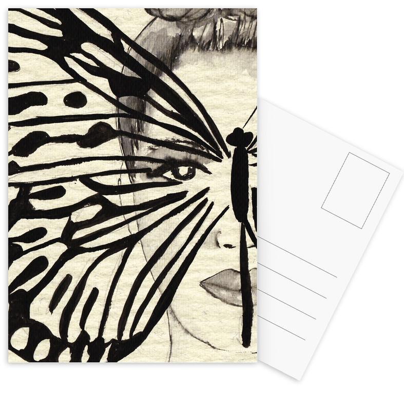 Portraits, Butterflies, Black & White, Mystic Butterfly Postcard Set