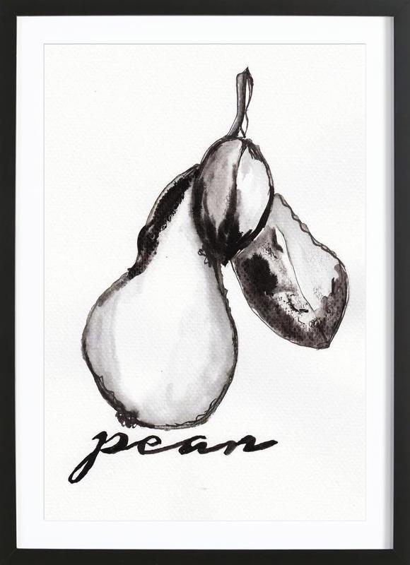 Schwarz & Weiß, Birnen, Pear -Bild mit Holzrahmen