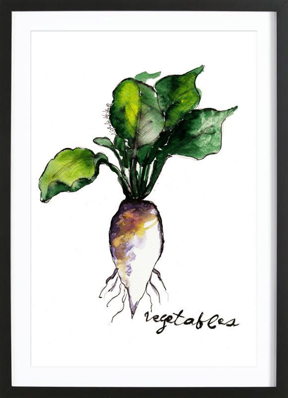 Vegetables affiche sous cadre en bois