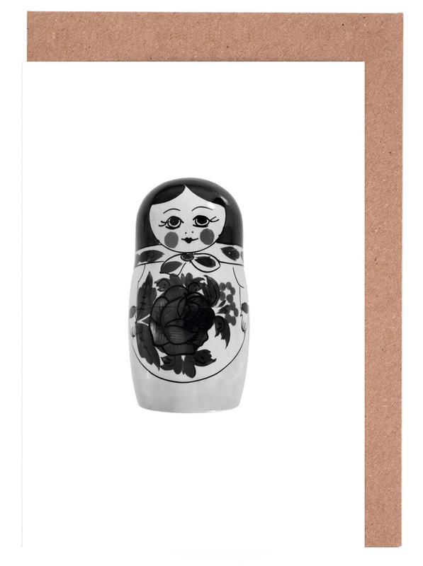Black & White, Nursery & Art for Kids, Babushka Greeting Card Set