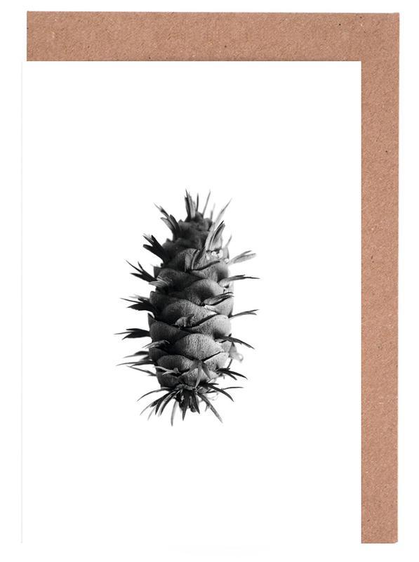 Black & White, Pine Cone Greeting Card Set