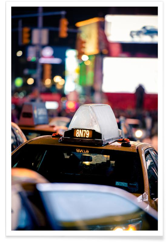 Voitures, New York, Times Square Bits affiche