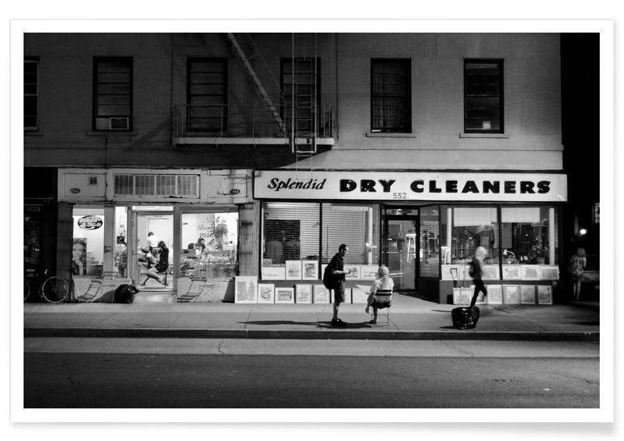 Détails architecturaux, Noir & blanc, Dry Cleaners affiche