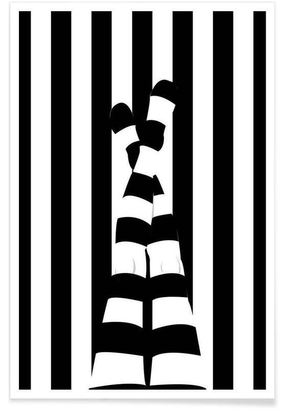 Noir & blanc, Détails corporels, Striping legs affiche