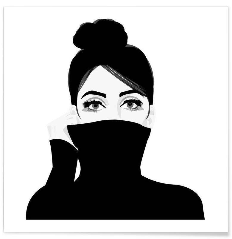 Noir & blanc, Portraits, Girl in turtleneck affiche