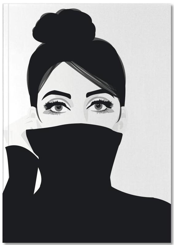 Noir & blanc, Portraits, Girl in turtleneck Notebook