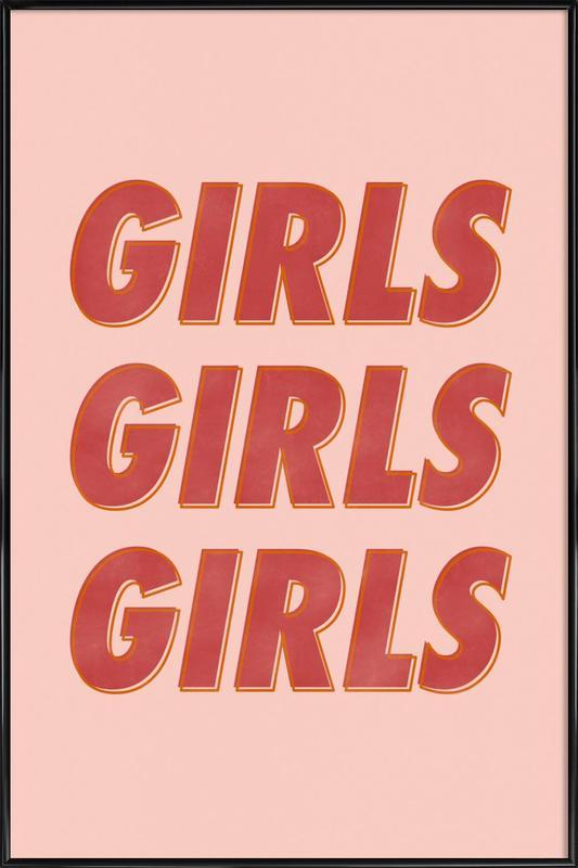 Girls Red Framed Poster