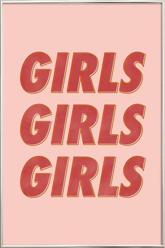 Girls Red Poster in Aluminium Frame