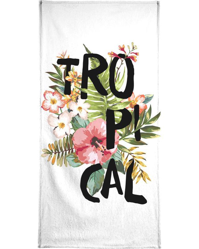 Leaves & Plants, Motivational, Tropical White Beach Towel