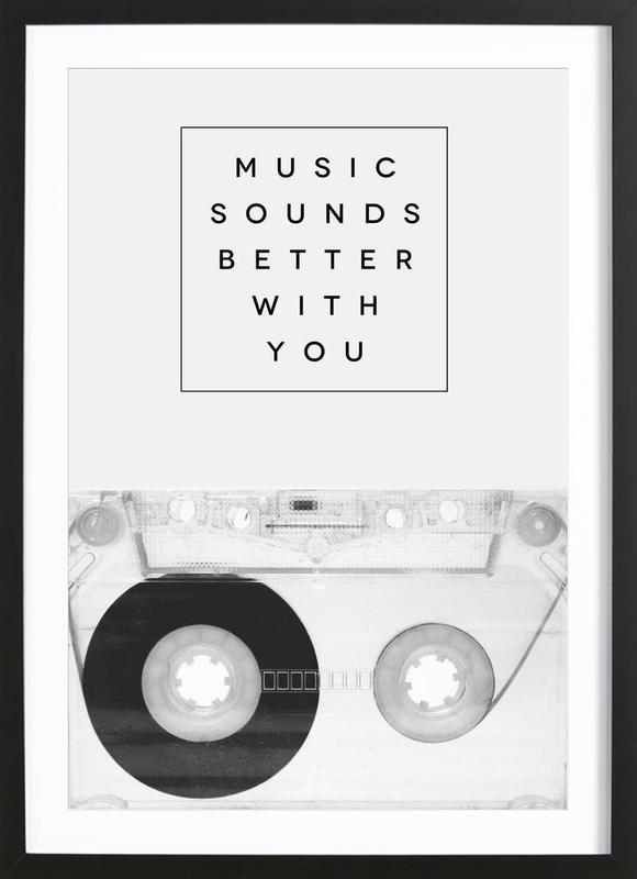 Music Sounds Better With You -Bild mit Holzrahmen
