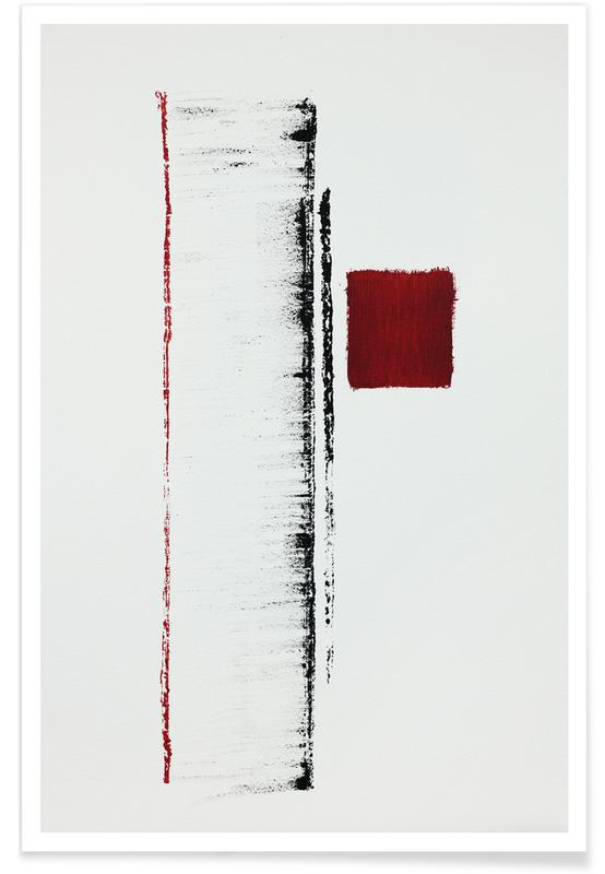 , Black And Red Minimal Abstract affiche