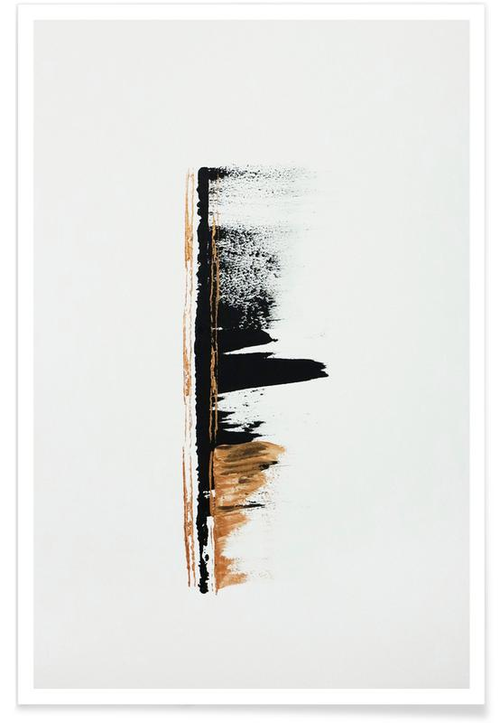 , Gold And Black Minimal Abstract II affiche