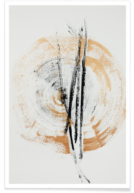 , Gold And Black Minimal Abstract III affiche