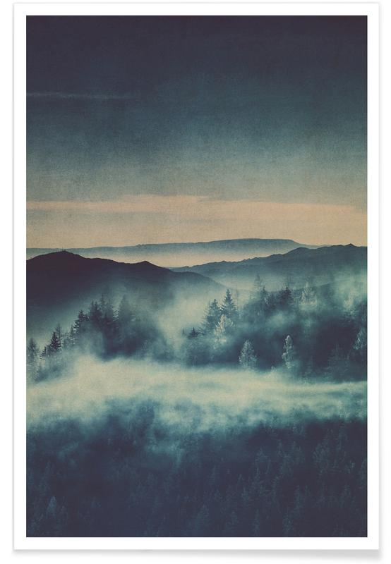 Trees, Forests, Mountains, Leaves & Plants, Misty Morning Poster