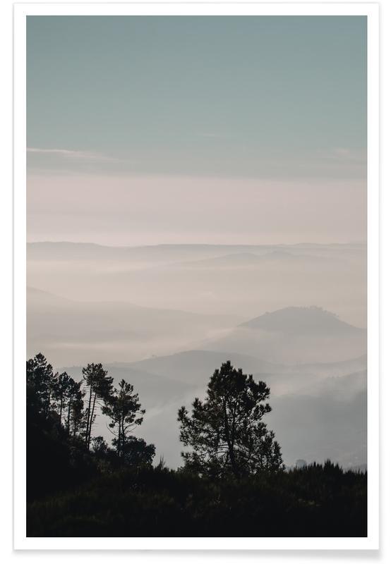 Blade & planter, Træer, Skove, Bjerge, Mountain Range Plakat