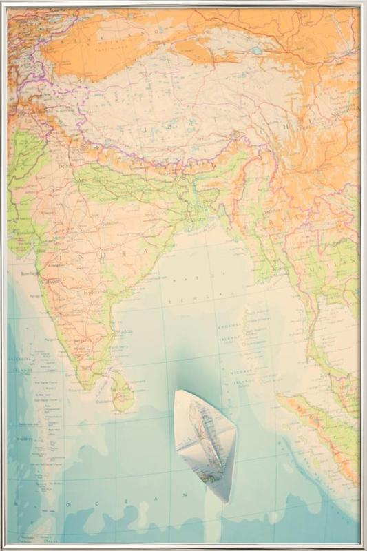 map-india Poster in Aluminium Frame