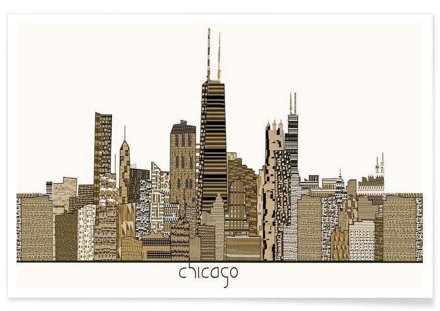 Skylines, chicago vintage affiche