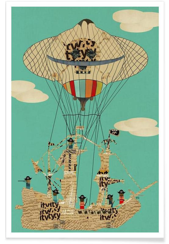 Kinderzimmer & Kunst für Kinder, sky pirates -Poster