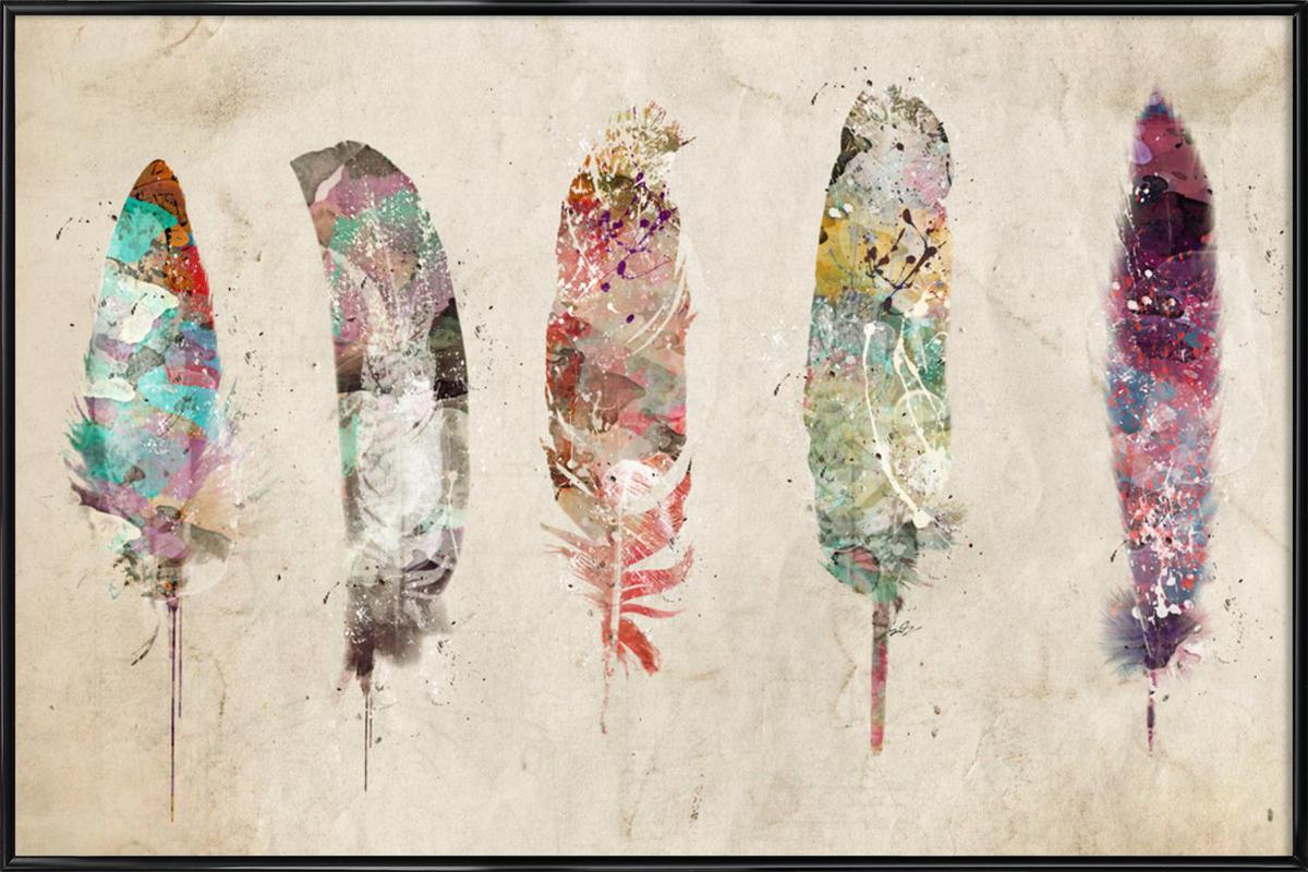 Pop Art Feathers Framed Poster